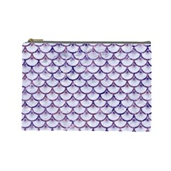 Scales3 White Marble & Purple Marble (r) Cosmetic Bag (large)  by trendistuff