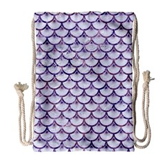 Scales3 White Marble & Purple Marble (r) Drawstring Bag (large)