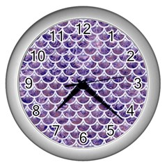 Scales3 White Marble & Purple Marble Wall Clocks (silver)  by trendistuff