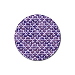 Scales3 White Marble & Purple Marble Rubber Round Coaster (4 Pack)  by trendistuff