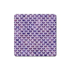 Scales3 White Marble & Purple Marble Square Magnet by trendistuff