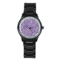 Scales3 White Marble & Purple Marble Stainless Steel Round Watch