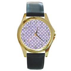 Scales2 White Marble & Purple Marble (r) Round Gold Metal Watch by trendistuff