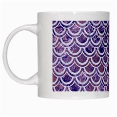 Scales2 White Marble & Purple Marble White Mugs by trendistuff