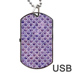 Scales2 White Marble & Purple Marble Dog Tag Usb Flash (two Sides) by trendistuff