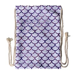 Scales1 White Marble & Purple Marble (r) Drawstring Bag (large)