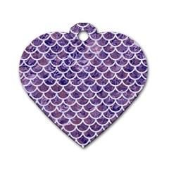 Scales1 White Marble & Purple Marble Dog Tag Heart (one Side) by trendistuff
