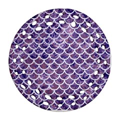 Scales1 White Marble & Purple Marble Round Filigree Ornament (two Sides) by trendistuff