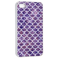 Scales1 White Marble & Purple Marble Apple Iphone 4/4s Seamless Case (white) by trendistuff