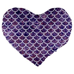 Scales1 White Marble & Purple Marble Large 19  Premium Heart Shape Cushions by trendistuff