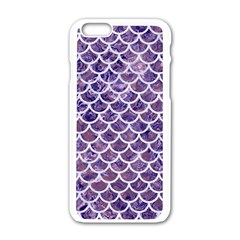 Scales1 White Marble & Purple Marble Apple Iphone 6/6s White Enamel Case by trendistuff
