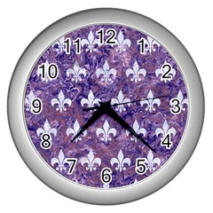 Royal1 White Marble & Purple Marble (r) Wall Clocks (silver)  by trendistuff