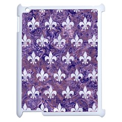 Royal1 White Marble & Purple Marble (r) Apple Ipad 2 Case (white) by trendistuff