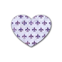 Royal1 White Marble & Purple Marble Rubber Coaster (heart)  by trendistuff