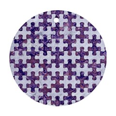 Puzzle1 White Marble & Purple Marble Round Ornament (two Sides) by trendistuff