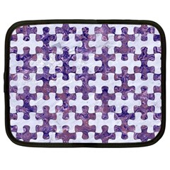 Puzzle1 White Marble & Purple Marble Netbook Case (large) by trendistuff