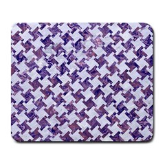 Houndstooth2 White Marble & Purple Marble Large Mousepads by trendistuff