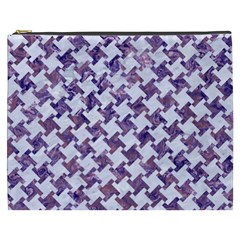 Houndstooth2 White Marble & Purple Marble Cosmetic Bag (xxxl)  by trendistuff
