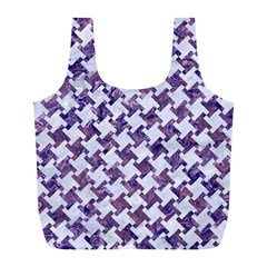 Houndstooth2 White Marble & Purple Marble Full Print Recycle Bags (l)  by trendistuff