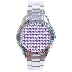 Houndstooth1 White Marble & Purple Marble Stainless Steel Analogue Watch by trendistuff