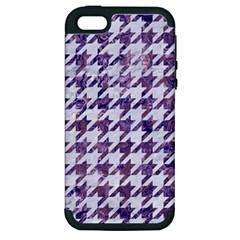 Houndstooth1 White Marble & Purple Marble Apple Iphone 5 Hardshell Case (pc+silicone) by trendistuff