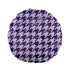 Houndstooth1 White Marble & Purple Marble Standard 15  Premium Round Cushions by trendistuff