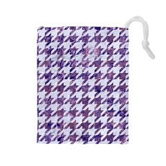 Houndstooth1 White Marble & Purple Marble Drawstring Pouches (large)  by trendistuff
