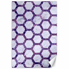 Hexagon2 White Marble & Purple Marble (r) Canvas 20  X 30   by trendistuff