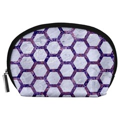 Hexagon2 White Marble & Purple Marble (r) Accessory Pouches (large)  by trendistuff