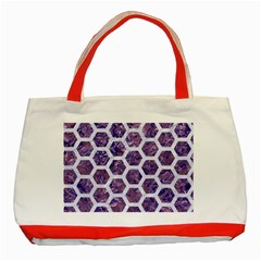 Hexagon2 White Marble & Purple Marble Classic Tote Bag (red) by trendistuff