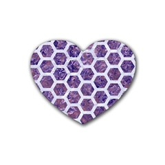 Hexagon2 White Marble & Purple Marble Rubber Coaster (heart)  by trendistuff