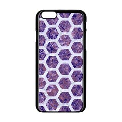 Hexagon2 White Marble & Purple Marble Apple Iphone 6/6s Black Enamel Case by trendistuff