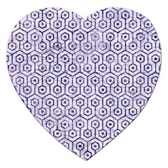 Hexagon1 White Marble & Purple Marble (r) Jigsaw Puzzle (heart) by trendistuff