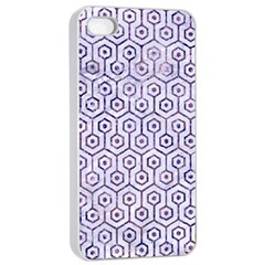 Hexagon1 White Marble & Purple Marble (r) Apple Iphone 4/4s Seamless Case (white) by trendistuff
