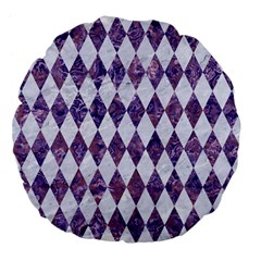 Diamond1 White Marble & Purple Marble Large 18  Premium Flano Round Cushions by trendistuff