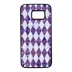 Diamond1 White Marble & Purple Marble Samsung Galaxy S7 Black Seamless Case by trendistuff