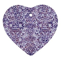 Damask2 White Marble & Purple Marble (r) Heart Ornament (two Sides)