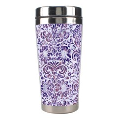 Damask2 White Marble & Purple Marble (r) Stainless Steel Travel Tumblers by trendistuff
