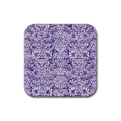 Damask2 White Marble & Purple Marble Rubber Square Coaster (4 Pack)  by trendistuff