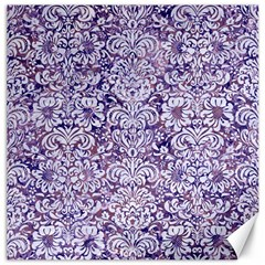 Damask2 White Marble & Purple Marble Canvas 16  X 16   by trendistuff