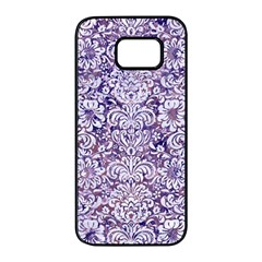 Damask2 White Marble & Purple Marble Samsung Galaxy S7 Edge Black Seamless Case by trendistuff