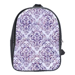 Damask1 White Marble & Purple Marble (r) School Bag (xl) by trendistuff