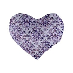 Damask1 White Marble & Purple Marble (r) Standard 16  Premium Flano Heart Shape Cushions by trendistuff