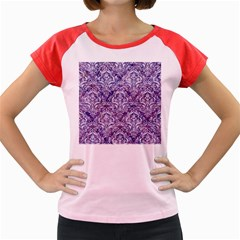 Damask1 White Marble & Purple Marble Women s Cap Sleeve T Shirt