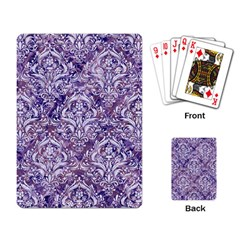 Damask1 White Marble & Purple Marble Playing Card by trendistuff