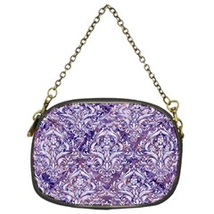 Damask1 White Marble & Purple Marble Chain Purses (two Sides)  by trendistuff