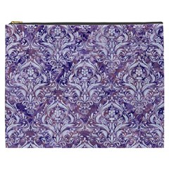 Damask1 White Marble & Purple Marble Cosmetic Bag (xxxl)  by trendistuff