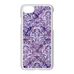 Damask1 White Marble & Purple Marble Apple Iphone 7 Seamless Case (white) by trendistuff