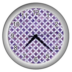 Circles3 White Marble & Purple Marble Wall Clocks (silver)  by trendistuff