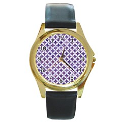 Circles3 White Marble & Purple Marble Round Gold Metal Watch